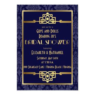 Couples' Bridal Shower Roaring 20s Art Deco | Blue 13 Cm X 18 Cm Invitation Card