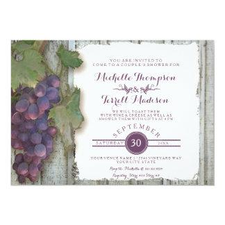 Couples Bridal Shower Vineyard Wine Grapes Theme 13 Cm X 18 Cm Invitation Card