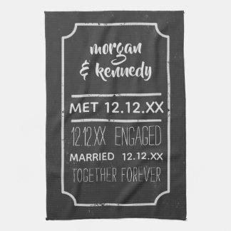 Couple's Chalkboard Anniversary Kitchen Towel