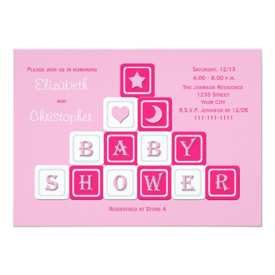 Couples Coed Baby Shower Invitation Pink Blocks