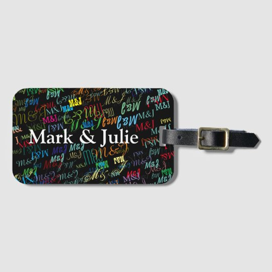 couples colourful initials custom luggage tag