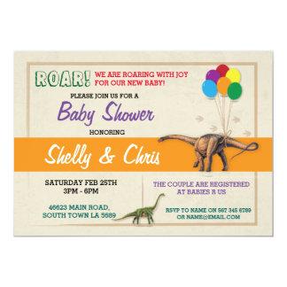 Couples Dinosaur Baby Shower Boy Girl Twins Invite