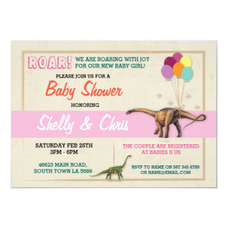 Couples Dinosaur Baby Shower It's a Girl Invite