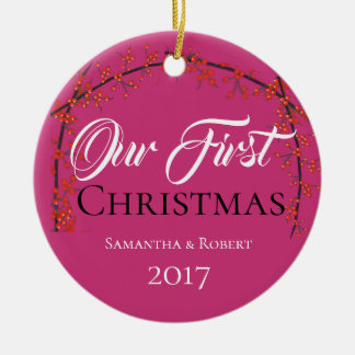 Couples First Christmas - Name & Date - Christmas Ornament