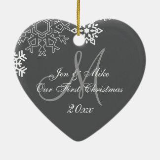 Couple's First Christmas Ornament | Monogram Gray