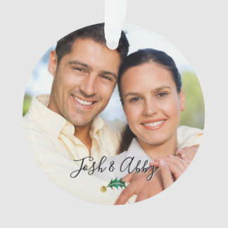 Couple's First Christmas Photo Green & Gold Holly Ornament