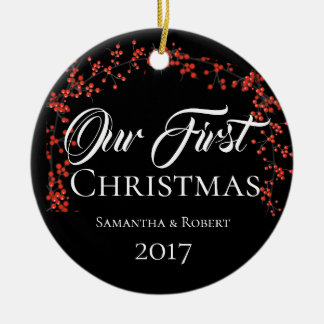 Couples First Christmas with Name & Date - Christmas Ornament