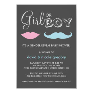 Couples Gender Reveal Baby Shower 13 Cm X 18 Cm Invitation Card