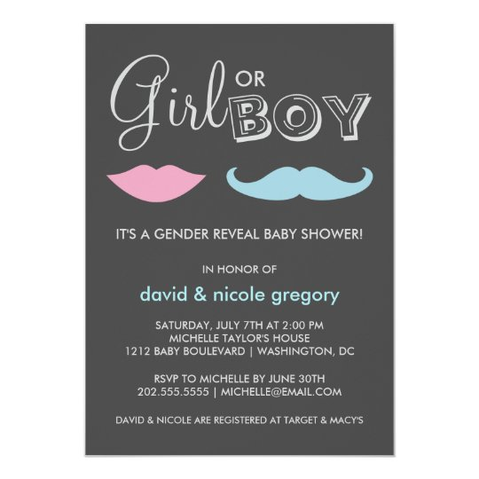 Couples Gender Reveal Baby Shower Card