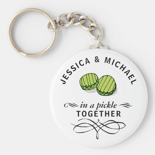 Couples' In a Pickle Together Personalised Key Ring
