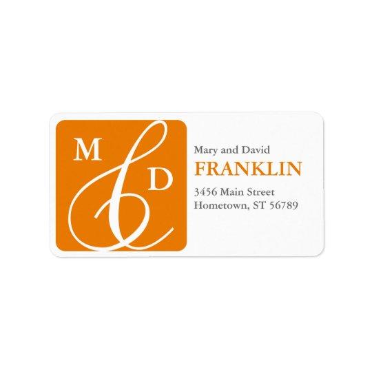Couple's Initials Address Label (orange)