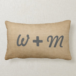 Couples Initials Burlap Forever and Always Lumbar Pillow