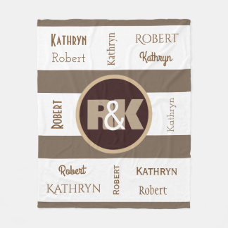 Couples Initials Snuggled Together & Fun Fonts Fleece Blanket