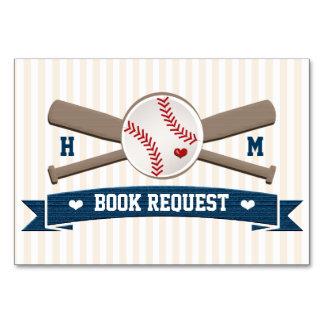COUPLES MONOGRAM BASEBALL BABY SHOWER BOOK REQEUST CARD
