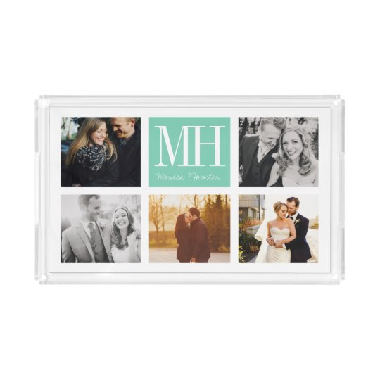 Couples Monogram Photo Serving Tray Custom Colours