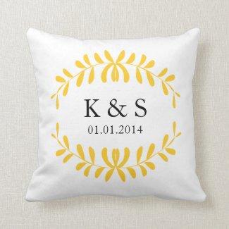 Couples Monogram Pillow | Yellow