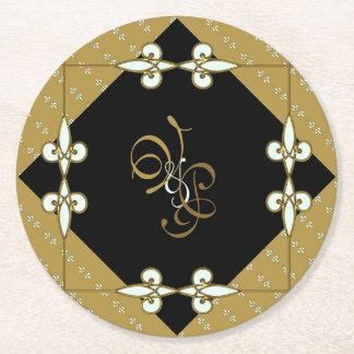 Couple's Monogram Victorian Vintage Art Nouveau Round Paper Coaster