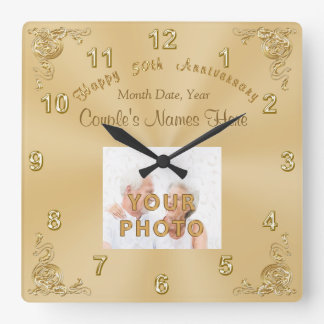Couple's NAMES, DATE, PHOTO 50th Anniversary CLOCK