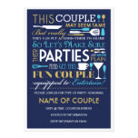 Couples Party Blue and Gold Custom Invitation
