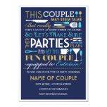 Couples Party Blue and Gold Invitation