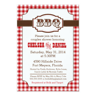 """Couples Shower BBQ Invitation, Rustic Country 5"""" X 7"""" Invitation Card"""
