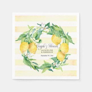 Couples Shower Citrus Lemon Wreath Blossom Leaf Disposable Napkins
