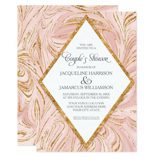 Couples Shower Rose Gold Faux Glitter Marble Blush
