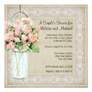 Couples Shower Rustic Country Mason Jar Roses 13 Cm X 13 Cm Square Invitation Card