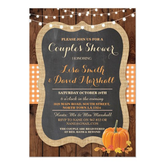Couple's Shower Rustic Fall Pumpkin Invitation