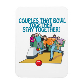 Couples That Bowl Together Rectangle Magnets