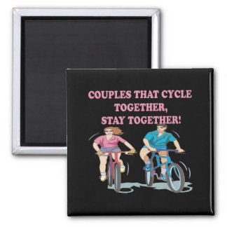 Couples That Cycle Together Square Magnet