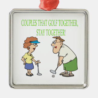 Couples That Golf Together Stay Together Silver-Colored Square Decoration