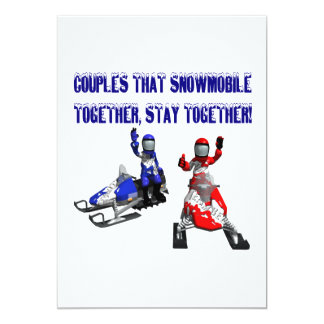 Couples That Snowmobile Together 13 Cm X 18 Cm Invitation Card