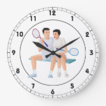 Couples That Tennis Together.png Wall Clocks