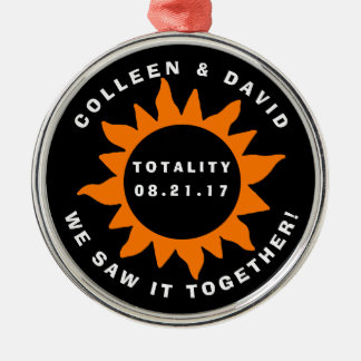Couples Totality Solar Eclipse Personalized Christmas Ornament