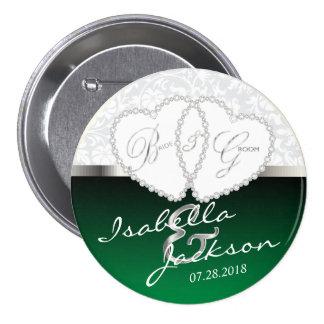 Couple's Wedding or Anniversary Design in Green 7.5 Cm Round Badge