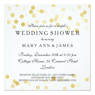 Couple's Wedding Shower Gold Foil Glitter Lights 13 Cm X 13 Cm Square Invitation Card
