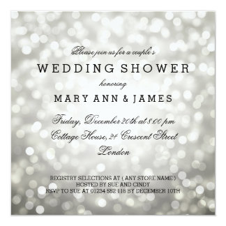 Couple's Wedding Shower Silver Glitter Lights Card
