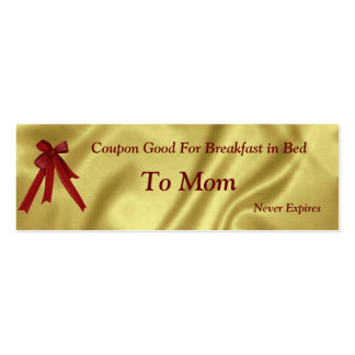 Coupon Christmas For Mom Breakfast in Bed Business Cards