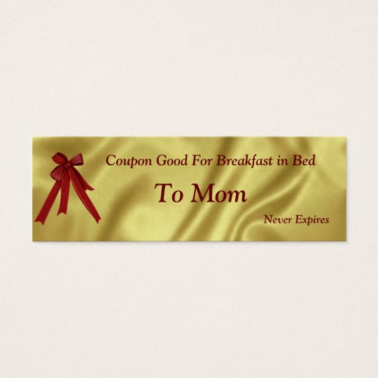 Coupon Christmas For Mum Breakfast in Bed Mini Business Card