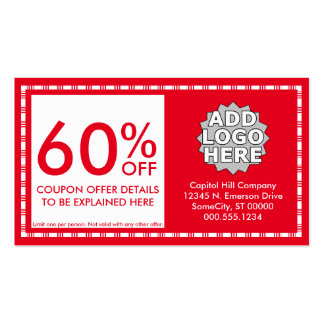 coupon. (color customizable) pack of standard business cards