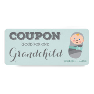 Coupon for Grandchild Blue Baby Boy Girl 10 Cm X 24 Cm Invitation Card