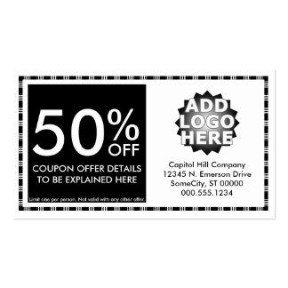 coupon layout pack of standard business cards