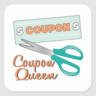 Coupon Queen Square Stickers