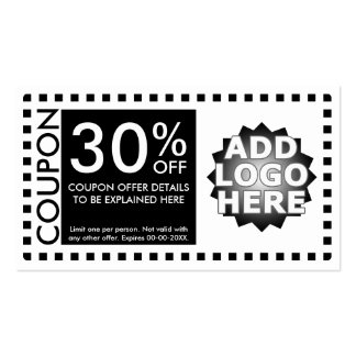coupon template pack of standard business cards
