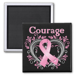 Courage Breast Cancer Awareness Ribbon Square Magnet