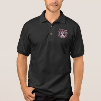 Courage Breast Cancer Awareness Ribbon Polo Shirt