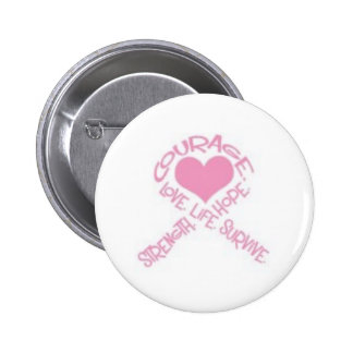 Courage breast cancer ribbon 6 cm round badge
