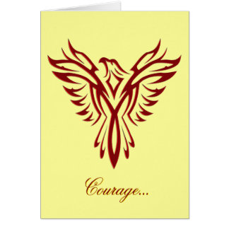 Courage - Crimson Phoenix Rising blank notelet Greeting Card