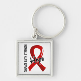 Courage Faith Hope 5 AIDS Silver-Colored Square Key Ring